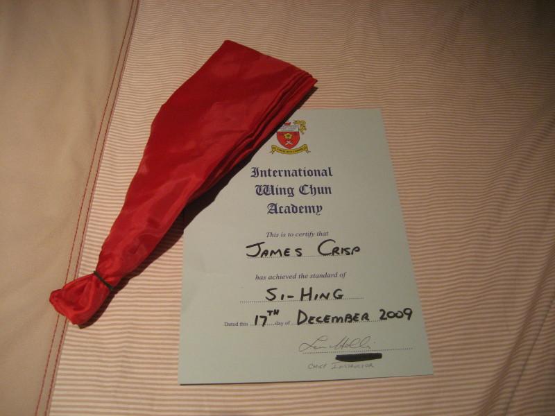 Si-hing sash & certificate